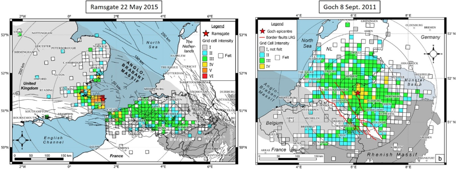 Intensity maps of the 2015 Ramsgate (left) and 2011 Goch (right) earthquakes. Maps were made by merging all the felt reports submitted to several European seismological institutes.  Credit: Van Noten et al. (2017).