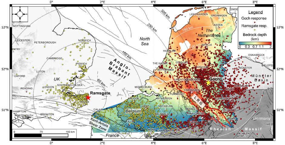 Combined felt distributions of the 2011 Goch earthquake (red) and 2015 Ramsgate earthquake (yellow) illustrated on a depth to bedrock map of Northern Belgium, the Netherlands and Western Germany. Credit: Van Noten et al. (2017).