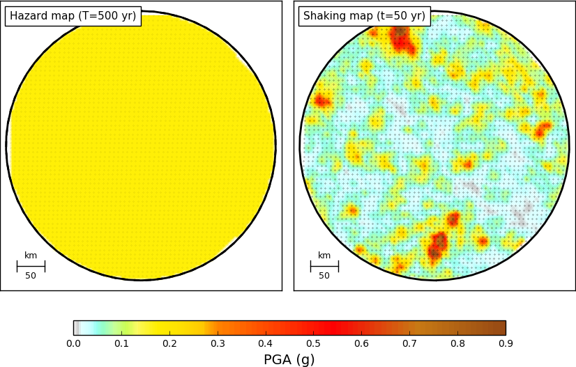 Comparison between a seismic hazard map and a map with simulated shaking