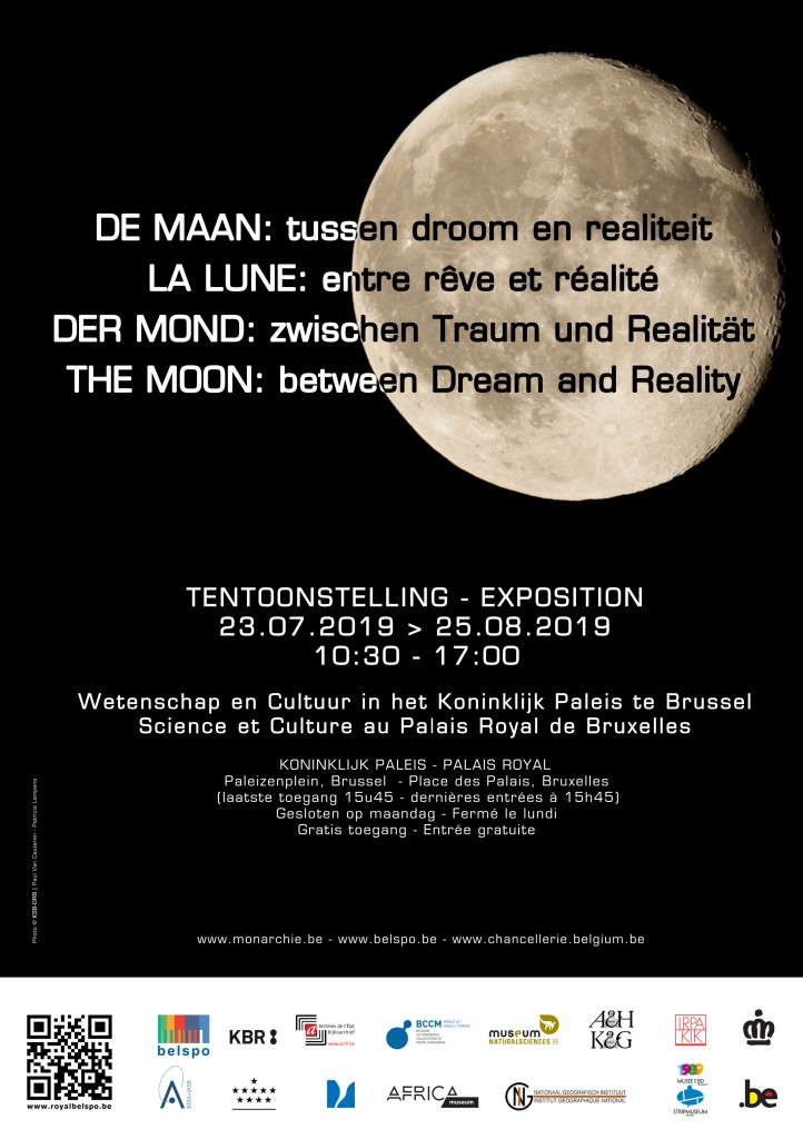 "poster exhibition ""Wonder"" at the Royal Palace with a photo of the Moon"
