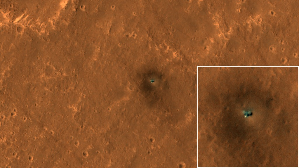 Vue du site d'atterrissage InSight prise par la caméra HiRISE de la NASA le 23 septembre 2019. Credit: NASA/JPL-Caltech/University of Arizona.