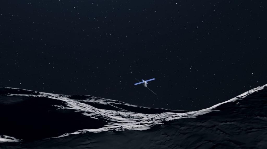 The Juventus CubeSat above an asteroid landscape.