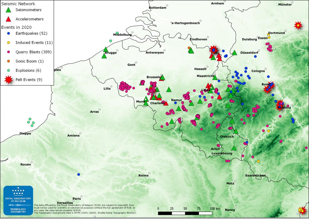 Map van het Belgische seismich netwerk met gelokaliseerde aardbevingen in 2020