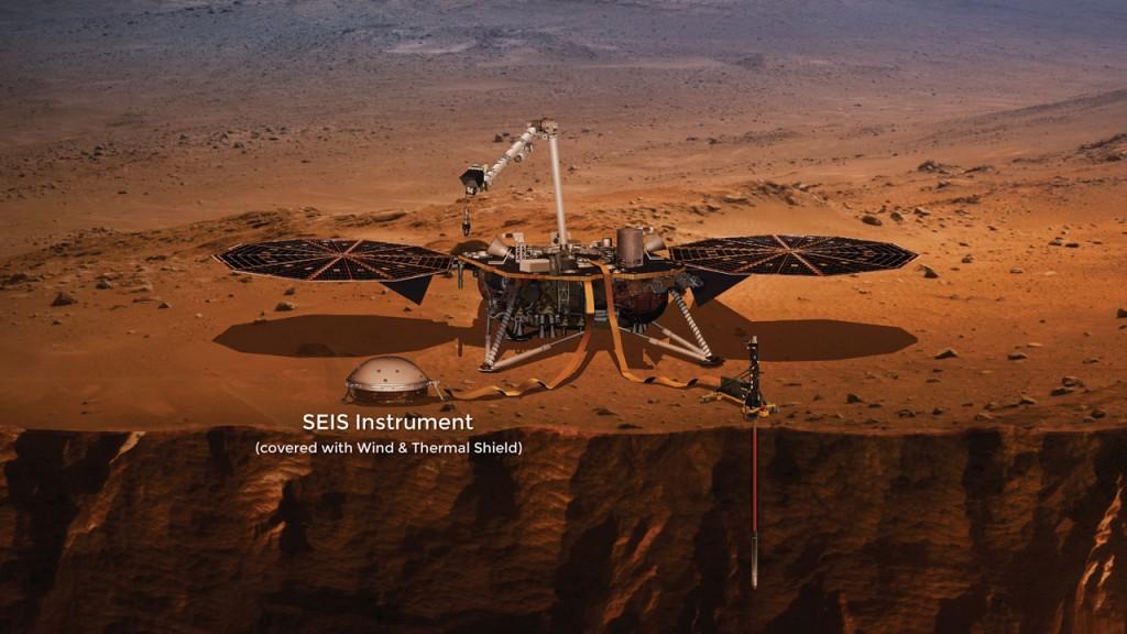 Vue d'artiste de l'atterrisseur InSight de la NASA, avec l'instrument SEIS mis en évidence sur l'image.