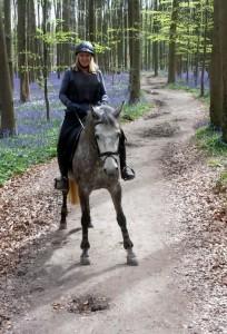 Véronique Dehant maakt een wandeling met haar paard in het bos.